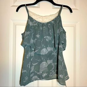 KIRRA ruffle, lace, and floral boho style tank top